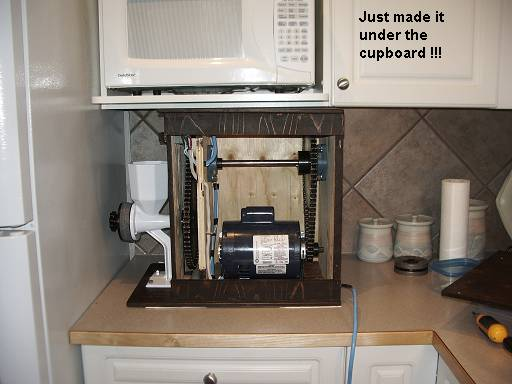 Motorized Grain Mill - Just made it under the cupboard
